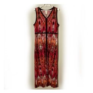 Chico's Front Slit Maxi Dress Boho Multicolor Sz L